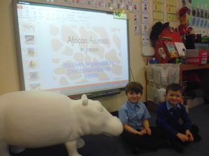 Oliver and Finlay enjoyed learning about African animals in French